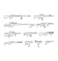 machine guns and pistols line icons set vector image