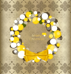 Merry Christmas greeting card with vintage vector image