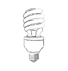 Monochrome sketch of spiral fluorescent bulb vector
