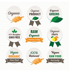 Organic and vegan food labels vector
