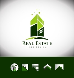 Real estate building house roof logo icon set vector
