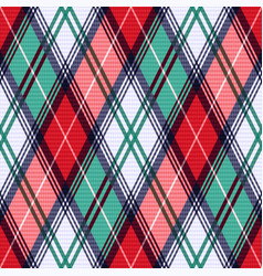 Rhombic tartan seamless texture in red and vector
