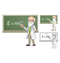 Scientist holding a pointer stick vector