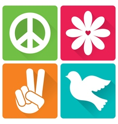 Set of 4 in flat design peace and antiwar theme vector image