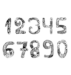 Set of numbers Vintage Doodle Zentangle Hand vector image