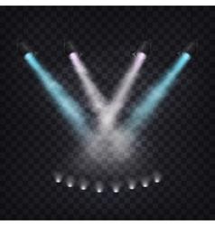 Set of scenic spotlights in fog vector