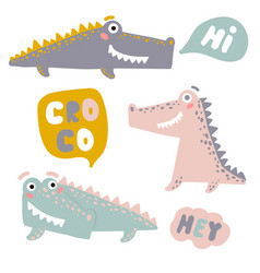 set with happy fun crocodiles cartoon alligators vector image