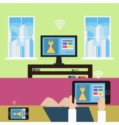 Shopping from home modern technology vector