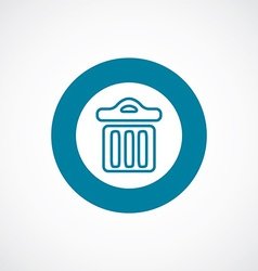 Trash bin icon bold blue circle border vector