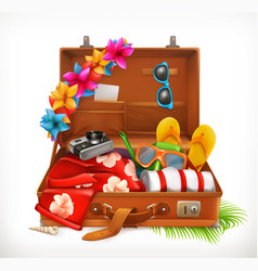Tropical holidays summer vacation open suitcase vector