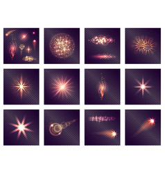 twelve different light effects on transparent vector image