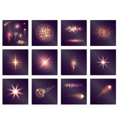 twelve different light effects on transparent vector image vector image