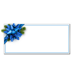 White christmas banner with blue bow vector