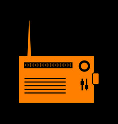 Radio sign  orange icon on black vector