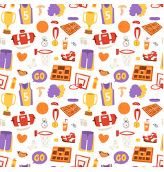 basketball stickers icons seamless pattern vector image