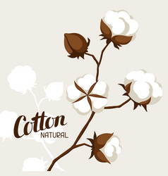 Background with cotton bolls and branches vector