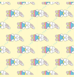 Seamless pattern with sleeping easter bunny vector