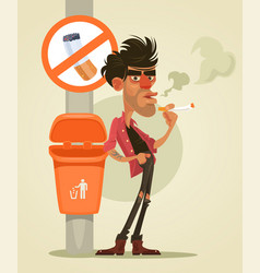 Bad man character smoking under sign smoke vector