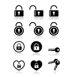 Padlock key icons set vector