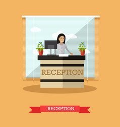 Hotel reception concept in vector