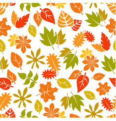 autumn leaves seamless pattern - colorful fall vector image