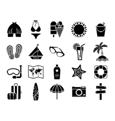 Summer icons black on white vector image