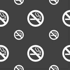 No smoking icon sign seamless pattern on a gray vector