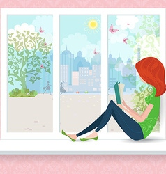 Cute girl is reading a book on a window sill vector