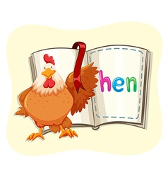 Chicken and opened book vector