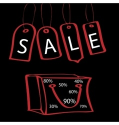 Black friday tag with the words sale and bag vector