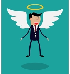 Cartoon man character in business suit with wings vector