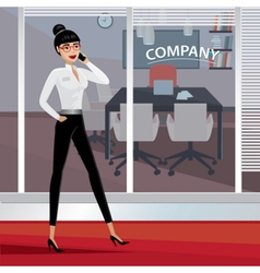 Business woman walking around the office vector