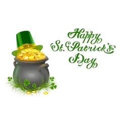 Pot of gold coins full cauldron of gold patrick vector