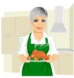Sweet grandmother cooking thanksgiving turkey vector