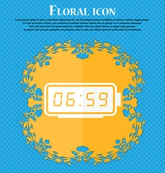 alarm clock icon Floral flat design on a blue vector image