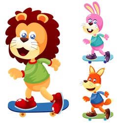 Animals skateboard vector image