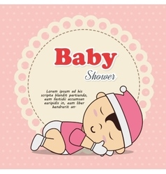 Baby shower invitation with baby asleep vector