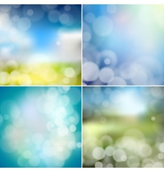 Big set of blurry backgrounds with bokeh effect vector image