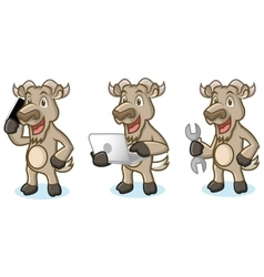 Burly wood mascot with laptop vector