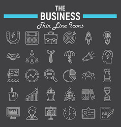 Business line icon set finance symbols collection vector