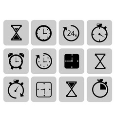 clocks icons set on grey time chronometer vector image vector image