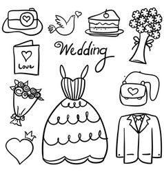 Doodle of wedding style design vector