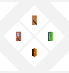 flat icon door set of entry entrance frame and vector image vector image