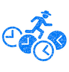 Gentleman running over clocks grunge icon vector