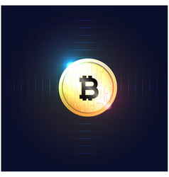 Golden bitcoin cryptocurrency dard blue background vector