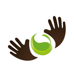 Hands human with leafs plant ecology symbol vector