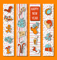 Happy new year set in stripes orange background vector