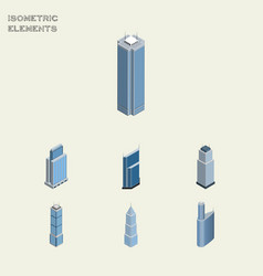 Isometric construction set of tower residential vector