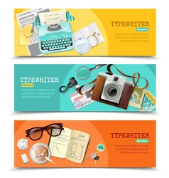 Journalist vintage typewriter banners vector