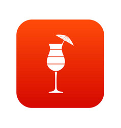 Layered cocktail with umbrella icon digital red vector